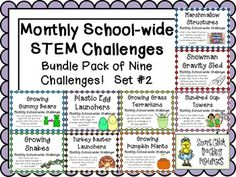 This is a bundle of the SECOND SET of all 9 monthly STEM school-wide challenges that are sold separately in my TPT store! $