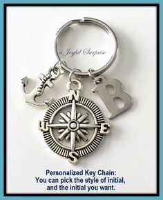 Nautical Keychain, Compass and Anchor Keychain, Compass Keyring, Anchor Key Chain, Gifts for Mariners Gift, Letter Charm Personalized  A personal favorite from my Etsy shop https://www.etsy.com/ca/listing/267878044/nautical-keychain-compass-and-anchor