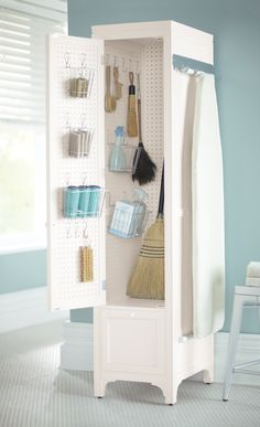 Martha Stewart Living, 78 in. H x 18 in. W Laundry Storage Linen Cabinet with Peg Board in Picket Fence, 1364400410 at The Home Depot - Tablet Linen Storage Cabinet, Laundry Room Storage, Storage Spaces, Laundry Cart, Broom Storage, Ikea Laundry, Laundry Rooms, Utility Closet, Cleaning Closet