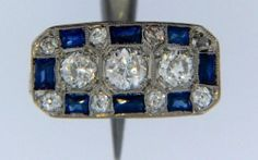 Ladies, Antique, 14K, White, Gold, Old, European, Cut, Diamond, Blue, French, Sapphire, Filigree, Ring