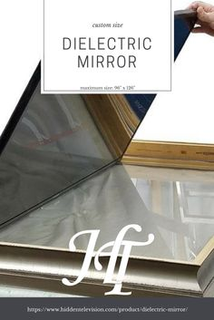 The Dielectric Mirror is the perfect tv mirror glass for living room and bedroom installations. It is the absolute best optical quality on the market at 60% transparent, 40% reflective and clear tint. #livingroom #bedroom #luxury #interiordesignideas #livingroomideas #bedroomideas #goals