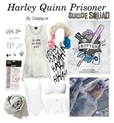 """""""Harley Quinn Prisoner"""" by cosplay-er ❤ liked on Polyvore featuring jared, Wolford, Brunello Cucinelli, Magic, Hot Topic and MANGO"""