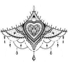 Sternum Tattoo Design, Chicanas Tattoo, Sketch Tattoo Design, Lace Tattoo, Tattoo Designs, Tattoo Ideas, Dagger Tattoo, Stencils Tatuagem, Tattoo Stencils