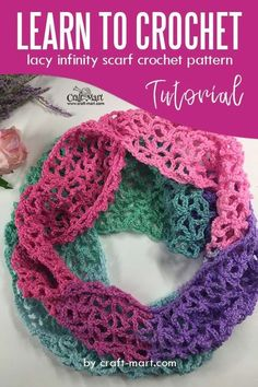 Learn to crochet lacy spring-time infinity scarf with our FREE PATTERN and step-by-step tutorial; lacy crochet stitch may appear complicated from a first glance but, in reality, it is not Crochet Lacy Scarf, Crochet Infinity Scarf Free Pattern, One Skein Crochet, Bag Crochet, Easy Knitting Patterns, Basic Crochet Stitches, Crochet Basics, Learn To Crochet, Crochet Scarves