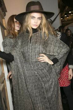 Cara Delevingne backstage at Issa London, Fall 2013