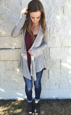 Crushing on this cute and cozy combo!  Sweater $44 // Item 1009BM3 Tank $36 // Item 1009BM4