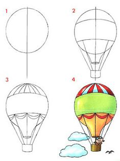 How to draw a hot air balloon step by step (art lesson, kids) Dibujar medios de transportes aéreos ~ Rayito de Colores Doodle Drawings, Easy Drawings, Doodle Art, Art Videos For Kids, Art For Kids, Drawing Lessons, Art Lessons, Drawing Tips, Drawing Ideas