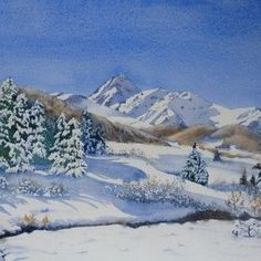 The site of Joel SIMON to discover and learn to paint in the watercolor . Forest Landscape, Landscape Art, Painting Snow, Winter Painting, Watercolor Landscape Paintings, Watercolor Artists, Watercolor Disney, Painting Still Life, Watercolor Art