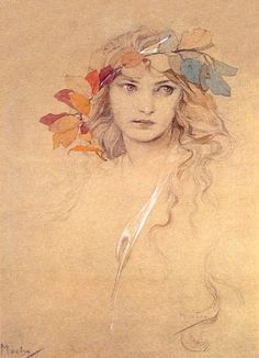 """Girl's Head with Laurel Twig"" by Alphonse Mucha, aka Alfons Maria Mucha, Czech Art Nouveau Painter & Decorative Artist . Art Sketches, Art Drawings, Drawing Portraits, Figure Drawing, Painting & Drawing, Alphonse Mucha Art, Illustrator, Portrait Art, Portrait Ideas"