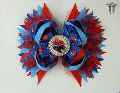"LG 6"" Spider-Man Inspired Red Blue Comic Book OTT Boutique Bottle Cap Hair Bow #FemmortalFashions"