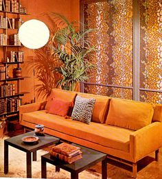 Orange Decor room example from Roxxn, as seen on Slipcovers for your walls Orange Couch, Orange Rooms, Living Room Orange, 1960s Living Room, My Living Room, Small Living, Orange Home Decor, Retro Home Decor, 1960s Decor