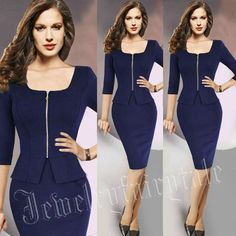 Business Women Dress Party Formal Bodycon Pencil Slim Zippered Dress 3/4 sleeve #Unbranded #WigglePencil #Cocktail