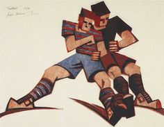 Football is a stunning Giclee limited edition reproduction of an original 1937 Linocut by Sybil Andrews. This is one of several sporting activates explored by Sybil Andrews that try to capture the rhythms and living movements of the human figure. Sybil Andrews, Soccer Art, Linoleum Block Printing, Borders For Paper, Pottery Sculpture, Cat Cards, Art Uk, Graphic Prints, Graphic Design