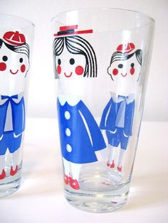 Set of 4 Vintage Boy Girl Glasses by shopnightowl on Etsy