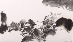 """ZAO WOU- KI (Né en 1920) SANS TITRE, 1975 Aquarelle et encre de chine sur papier signé et daté en bas à droite """"zao Wou-Ki, 75"""" 28,50 x 48,50 cm (11,12 x 18,92 in.)"""