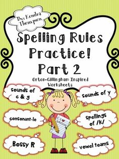 Grade Spelling Rules Practice Part Orton-Gillingham Inspired Spelling Word Practice, 2nd Grade Spelling, Spelling Rules, Spelling Activities, Word Study, Word Work, Phonics Rules, English Spelling, Reading Stations