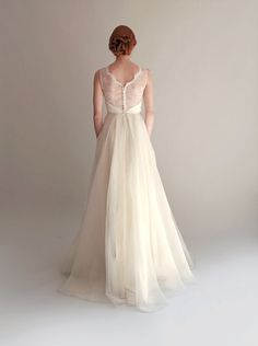 Lace Illusion Bodice with Organza Skirt Wedding Gown by Leanimal