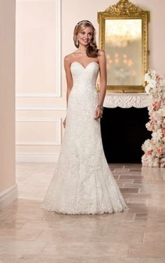 Wedding Dresses Vintage 6286 Lace Over Satin Fit and Flare Wedding Dress by Stella York.Wedding Dresses Vintage 6286 Lace Over Satin Fit and Flare Wedding Dress by Stella York Groom Wedding Dress, Backless Lace Wedding Dress, Fit And Flare Wedding Dress, 2016 Wedding Dresses, Classic Wedding Dress, Wedding Dress Shopping, Designer Wedding Dresses, Bridal Dresses, Wedding Gowns