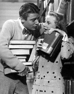 "Tommy Marlowe (Peter Lawford): ""What a vocabulary! Wait until I spring this on Pat!"" // Connie Lane (June Allyson): ""Why don't you just hit her over the head with a hockey stick?"" -- from Good News directed by Charles Walters Movie Blog, I Movie, Movie Stars, Golden Age Of Hollywood, Classic Hollywood, Old Hollywood, Turner Classic Movies, Classic Films, Old Movies"