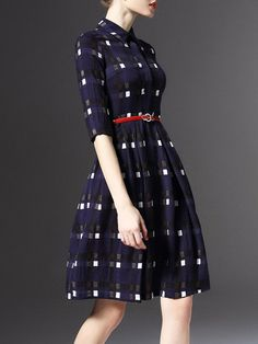 Buttoned Plaid Midi Dress with Belt