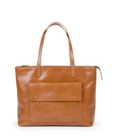 PINA – Top Zip Camel Brown Leather Tote