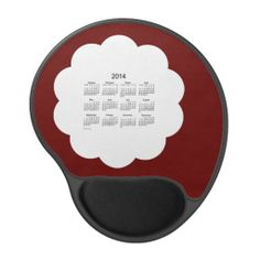 Maroon and White 2014 Calendar Gel Mouse Pad Design from Calendars by Janz