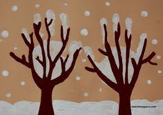 Alberi innevati con le impronte delle mani www.maestraagnese.com