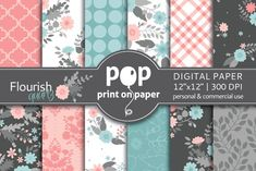 Flourish Quartz Digital Paper by POP print on paper on @creativemarket