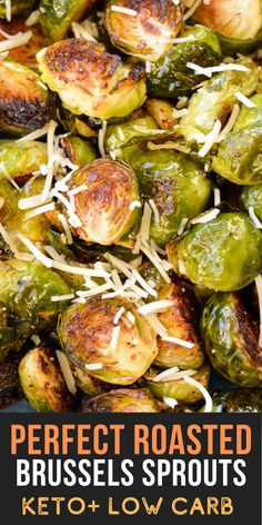 Enjoy these perfectly crispy Roasted Brussels Sprouts sprinkled with parmesan and lemon juice! This is the perfect easy side dish that is also low carb, keto friendly and gluten free! Holiday Side Dishes, Side Dishes Easy, Diet Recipes, Meal Planning, Roast, Good Food, Veggies, Low Carb, Farm Life