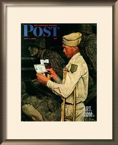 """""""War Bond"""" Saturday Evening Post Cover, July 1,1944 Giclee Print by Norman Rockwell at Art.com"""