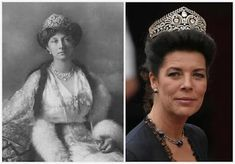 The Brunswick Tiara  Princess Victoria Louise of Prussia (left), Princess Caroline of Monaco a.k.a. the Princess of Hanover (right)  Originally the Empress Joséphine's, then Princess Victoria Louise of Prussia.  Inherited by her  grandson Ernst August along with the Prince of Hanover title. Seen worn by Princess Caroline (formerly of Monaco).