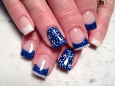 Blue and white with snow flakes