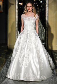 Oleg Cassini - Spring 2016. Satin ball gown with lace embellishment and an illusion neckline, Oleg Cassini