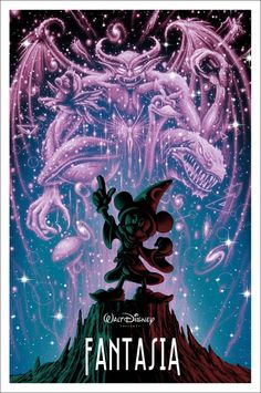 Fantasia (Sorcerer's Apprentice) | 25 Beautifully Reimagined Disney Posters That Capture The Magic Of The Films