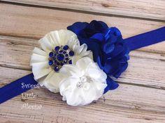 Royal Blue Ivory Headband, Flower Girl Headband, Big Flower Hair Bows, Satin Hair Clip, Elegant Infant Hairband, Fancy Wedding Headbands