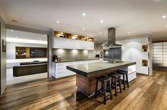 Sleek and elegant modern kitchen inw hite with a trendy design