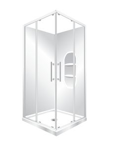 Features One piece acrylic lining with moulded shelf. Low profile tray with 40mm upstand Tray is Centre Waste as standard but also available in Corner Waste. 1950mm high glass 6mm safety glass. Large interior Space, corner sliding doors Minimalist modern style. Available in White, Silva or Black. quick release bottom rollers for easy cleaning