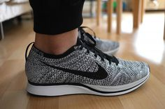 factory price bbfbc f2807 The Nike Flyknit Racer Black White Volt is releasing in 10 minutes... http