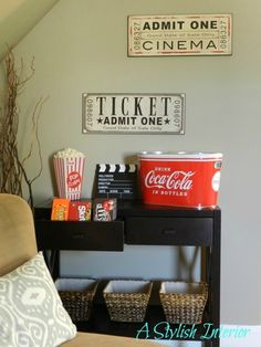 love this stylish media room ... the snack bar is fun | Home Decor