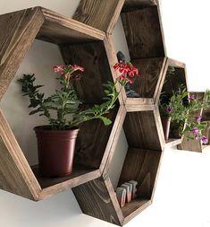 Set of 6 Medium Deep Hexagon Shelves, Honeycomb Shelves, Floating Shelves, Geometric Shelves Hexagon Wall Shelf, Honeycomb Shelves, Box Shelves, Wall Shelves, Wooden Shelves, Bedroom Decor, Wall Decor, Wall Art, Copper Color