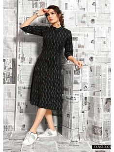 Buy This Beautiful Straight Ikkat Print Cotton Kurti Online.This kurti is not only breathtakingly beautiful but also comes in a large variety of Shirt Style. Simple Kurti Designs, New Kurti Designs, Kurta Designs Women, Kurti Designs Party Wear, Designs For Dresses, Salwar Designs, Stylish Dress Designs, Stylish Dresses, Short Kurti Designs