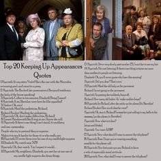 Keeping Up Appearances: Best Quotes. Love this show British Tv Comedies, British Comedy, Bbc Tv Shows, Movies And Tv Shows, Appearance Quotes, Are You Being Served, Keeping Up Appearances, Comedy Tv, Classic Tv