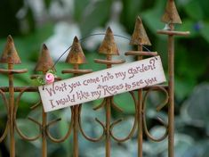 Little Miniature Fairy Garden Sign  Won't you by TheLittleHedgerow, $6.99