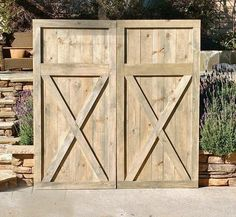 headboard-vintage-barn-door-replica-by foo foo la la Vintage Door Knobs, Vintage Doors, Shed Doors, Barn Doors, Carriage Doors, Wood Shed, Door Sets, Shed Design, Weathered Oak