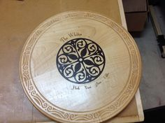 Lazy Susan with laser cut inlay.  Hard maple with Wenge.