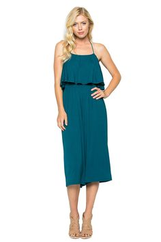 893a0bec9c85 Annabelle Womens Halter Tube Top Wide Leg Midi Jumpsuit Coral Blue Small  J8003     Click image for more details.(It is Amazon affiliate link)   ...