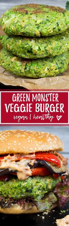 This green monster burger with kale, peas, and broccoli isn't only super delicious but also incredibly healthy! One of my all-time favorite vegan burgers!