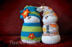 Sock snowman! No sewing requires, just elastics, socks, rice/beans, elastics, and the face! And any cute little flowers or anything to dress it up :) Oh, and you'll probably need a glue gun unless you want to sew on the buttons.