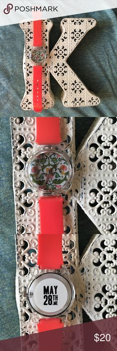 "May28th 01:54PM Floral Print Watch with Coral Band Super cute ""01:54PM"" watch by May28th! Although it's plastic, it's very sturdy; I wore it 3-4 times MAX, and it looks brand new. The face is dainty enough for daily wear with a diameter of 1.5"", but still legible at a quick glance. The 9"" long band accommodates wrists of all sizes, making this the perfect gift for a loved one, or an even better addition to your own collection! And you can't beat the precious floral-print face/coral band…"