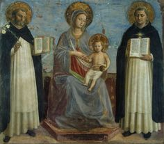 angelico - Virgin and Child with Sts Dominic and Thomas Aquinas. 1424-1430. Fresco. 196 x 184 cm. Hermitage Museum